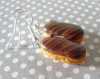 """Caramel and chocolate eclairs"" earrings"