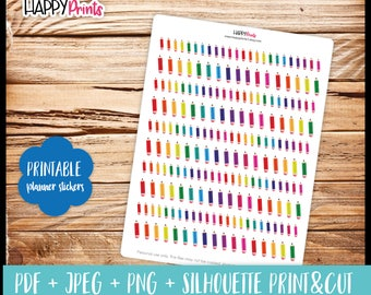 Mini Pencil Printable Planner Stickers.