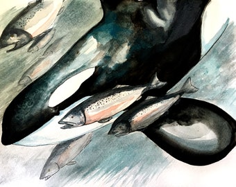 """Mixed Media Print """"To the Depths""""    Orca   Salmon   Watercolor   Ink   Underwater"""