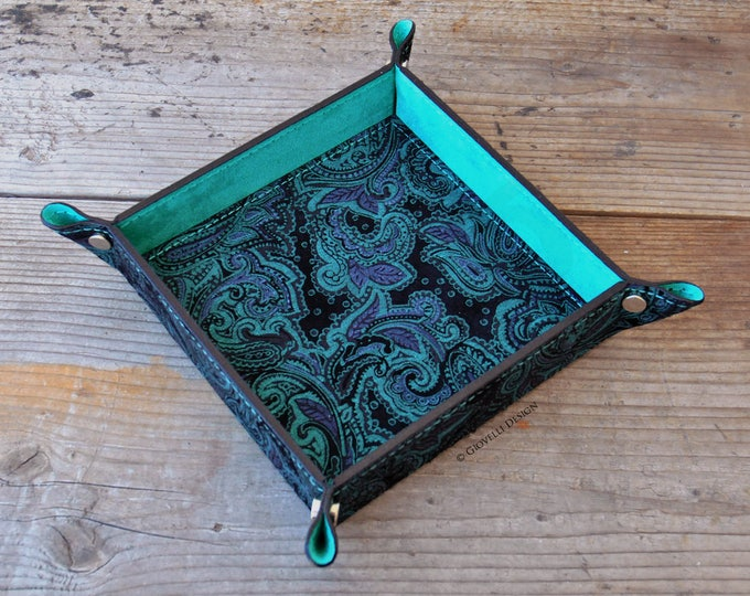 Suede Leather Valet Tray Limited Edition. Paisley Motif