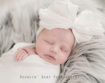 WHITE Ruffle Knot Wrap- headwrap; fabric head wrap; head wrap; newborn headband; baby headband; toddler headband; baby bow