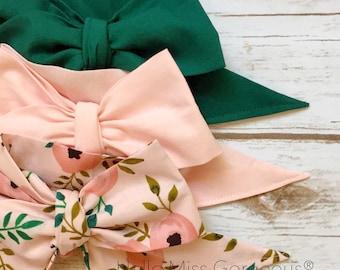 Gorgeous Wrap Trio (3 Gorgeous Wraps)- Hunter Green, Light Pink & Pink Poppy Gorgeous Wraps; headwraps; fabric head wraps; bows
