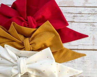 Gorgeous Wrap Trio (3 Gorgeous Wraps)- Crimson, Golden & Golden Sky Gorgeous Wraps; headwraps; fabric head wraps; head wraps