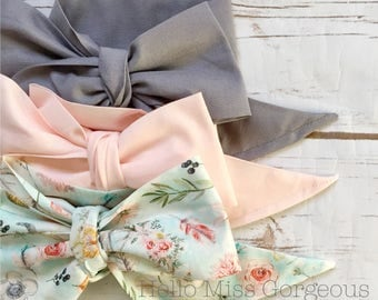 Gorgeous Wrap Trio (3 Gorgeous Wraps)- Platinum, Pink & Boho Floral Gorgeous Wraps; headwraps; fabric head wraps; bows