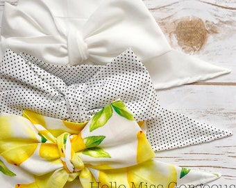 Gorgeous Wrap Trio (3 Gorgeous Wraps)- Blanc, Dottie & Sweet Lemon Gorgeous Wraps; headwraps; fabric head wraps; bows