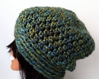 Crochet Hat, Chunky Hat, Womens Beanie,  Beanie Hat, Slouchy Hat,Colorful Hat,  Green Hat, Winter Hat, Wool Blend, Warm Hat,Slouchy Beanie