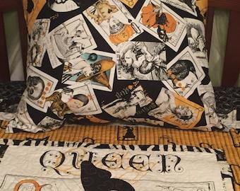 "Halloween quilt  "" Queen of Ween"" with matching pillow"