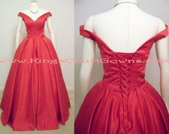 Off the Shoulder Red V-Neck Satin Ball Gown Corset Back Prom Evening Pageant Charity Masquerade Military Ball Dress