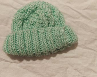 Hand Knitted Baby Hat - Green