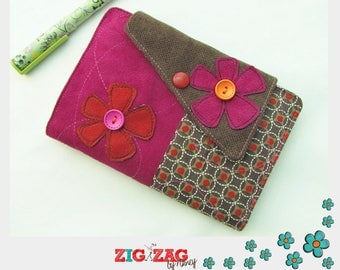 """Cover for diary or notebook A6 """"Chocolate/Fucshia/Orange"""" (A6 Format: 15.5 x 10.5 cm)"""