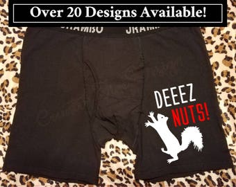 Gift for Him, Mature, Deez Nuts, Squirrel, Personalized Underwear, Funny Underwear, Personalized Boxer Briefs, Custom Boxer Briefs