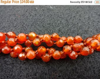 "SUMMER SALE 70"" long carnelian twist bead endless knotted necklace"