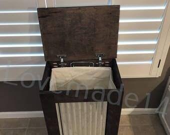 Laundry hamper, wood laundry hamper, DARK WALNUT, (S-Dw-M-hamp)