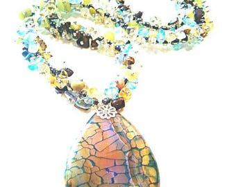 Autumn Forest, blue green yellow brown gemstones handmade jewelry handmade gemstones necklace blue green yellow brown handmade gemstones