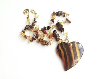 Tiger eye heart pendant gemstone chain necklace brown gold yellow citrine tiger eye jasper beads pendant necklace gift for her handmade