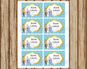 INSTANT DOWNLOAD- Cinderella Labels- Blank Labels- Wedding Labels- Princess Labels- Stickers- 8.5 x 11 size- Print Your Own- Digital Image