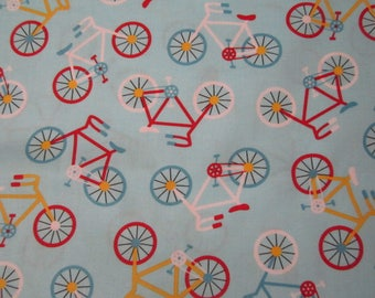 Anne Kelle for Robert Kaufman Ready Set Go! Light Blue Background Bicycles Primary Colors BTY Cute for a Little Boya Room