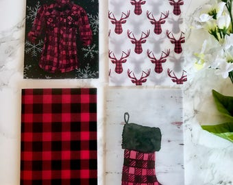 Buffalo Plaid Christmas Birch Wood Vellum Planner Dashboards For TN's and Midori Travelers Notebook V165
