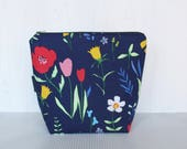 Blue Flowers - medium project bag - craft project bag - knitting project bag - multipurpose storage bag