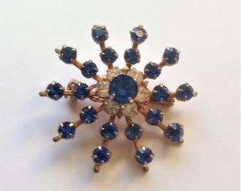 Vintage Austrian Crystal Brooch, Starburst Brooch, Sapphire Toned Gems, Rhinestone Brooch, Vintage Wedding