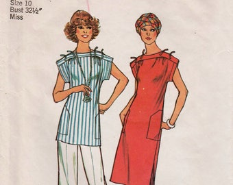 "Summer Dress Pattern Pullover Dress Shoulder Ties SIMPLICITY 7478 bust 32.5"" 1970s Dress Pattern Summer Top and Pants Pattern Casual Dress"