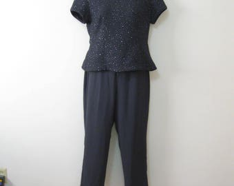 Dark Gray Misses Size 14 Petite Two Piece Vintage Evening Pants Suit with Sparkle Top SeXy Back SEE Details