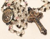 Vatican Library Collection AB (Aurora Borealis) Crystals Rosary Vintage