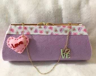 New Candy Heart VALENTINE'S DAY  Purple & Pink Clutch Purse Handmade Handbag OOAK