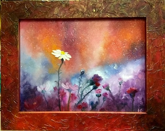 Flowers in a field oil painting on canvas  in a woodenhandmade frame