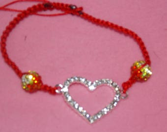 Shamballa Heart Rhinestone red thread