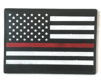 Firefighter Gifts, Thin Red Line Wall Art, Firefighters Wood Sign, Man Cave Home Decor, Firefighter Wall Hanging, Wood Wall Art, Wooden Sign