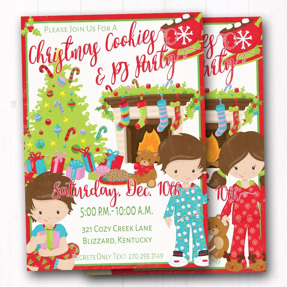 Kids Christmas Party Invite - Cookies & Pajama Sleep Over ...