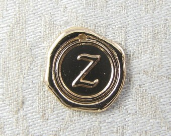 """Light Gold Wax Medallion Letter """"Z"""" Charms 1 or 5 letters per package  ALF014z-GL"""