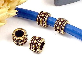 4 round beads zamak ethnic bronze high quality 4mm inside