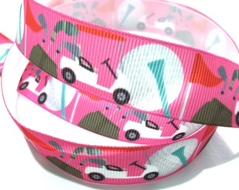 7/8 inch Golf ball, Golf Cart on Pink Printed Grosgrain Ribbon for Hair Bow, Key chain Key fob Lanyard - Original Design
