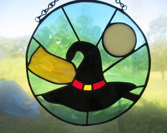 Witch Hat  Wicca Pagan Witchy Stained Glass Suncatcher