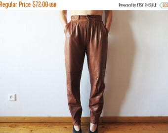 ON SALE Vintage High Waisted Caramel Brown Genuine Leather Pants Womens Real Leather Biker Club Trousers Motorcycle Rockstar Slacks Size Lar