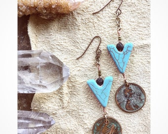 Pretty Pantina Lucky Penny Earrings / Turquoise Jewelry / Coin Earrings/ One Of A Kind / Unique Earrings / Bohemian / South West Jewelry