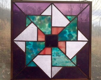 Handmade Stained Glass Triple Pinwheel Appalachian Quilt Square Pattern with Mixed Glasses Purple, Blue, Pink