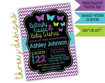 Butterfly Baby Shower Invitation - Purple, Teal and Green - Digital File - J006