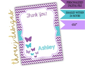 Butterfly Baby Shower or Birthday Party Thank You Card - Personalized - Purple and Teal - Digital File - J001 J013
