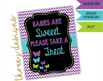 Butterfly Baby Shower Treat or Dessert Table Sign - INSTANT DOWNLOAD - Purple, Teal and Green - Digital File - J006