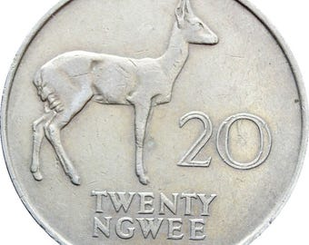 1968 20 Ngwee Zambia Coin