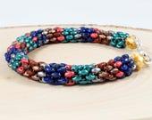 Seed Bead Rope Bracelet - Colorful Bracelet - Multicolor Bracelet - Jewel Tone - Beadwoven Bracelet - Casual Jewelry - Boho Bracelet - Gift
