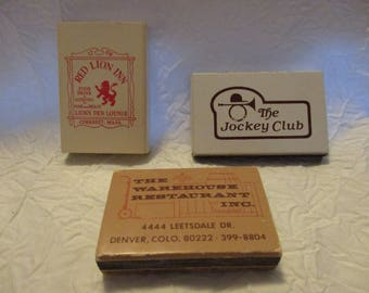 Collectible Tobacciana Match Boxes- Red Lion Inn Derby Restaurant Warehouse Restaurant Inc