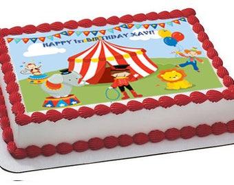 Circus edible cake topper, circus cake image, carnival cake topper, carnival cake image, circus party, carnival party, carnival cupcakes