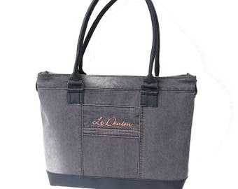 Used unique, elegant handbag grey jeans/denim look