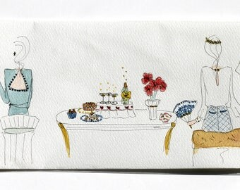 Table watercolor 40.6 x 15 cm. Misses back. Color and a white background.