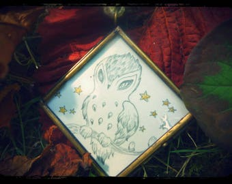 Small drawing framed to hang: little OWL