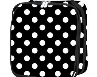 Black and White Polka Dot Monogrammed Embroidered Lunchbox